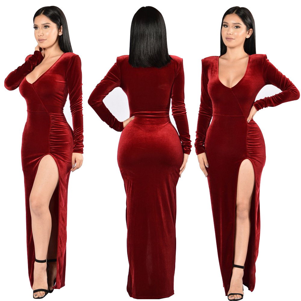 Sexy Night Club Dresses Women 2018 V Neck Solid Long Sleeved Gold