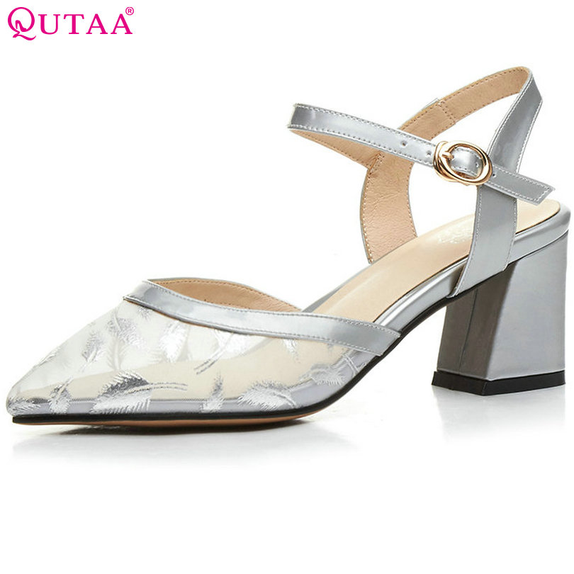 QUTAA 2017 Women Pumps Square High Heel Pointed Toe Summer Slingback Genuine leather Ankle Strap Ladies Wedding Shoes Size 34-39 2015 temperament high heel women pumps rhinestone ankle strap pointed toe ladies wedding shoes