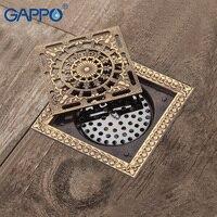 GAPPO Drains Bathroom Shower Drains Shower Floor Cover Antique Brass Shower Floor Drains Square Drain Stopper