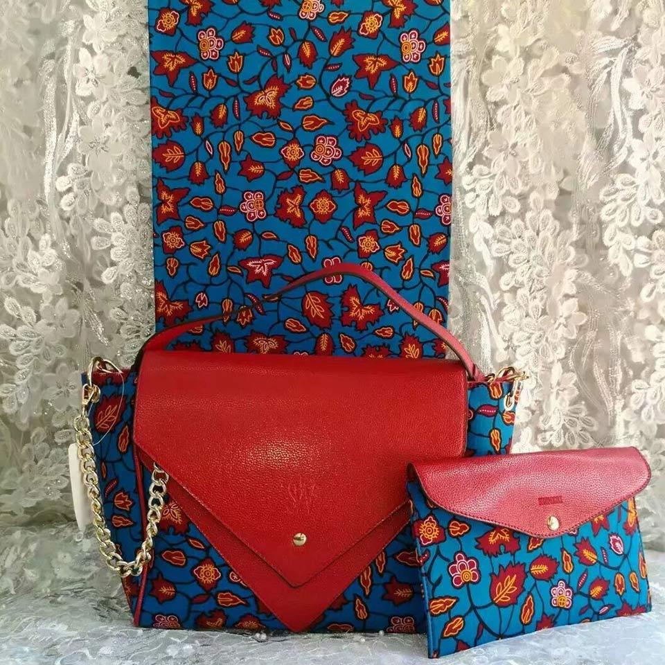 e293764ff820 3pc Set Ankara Handbag+ Clutch Bag+6 Yard Wax Hollandais African Ankara  Prints Fabric Kitenge Pagnes For Party DFB-8