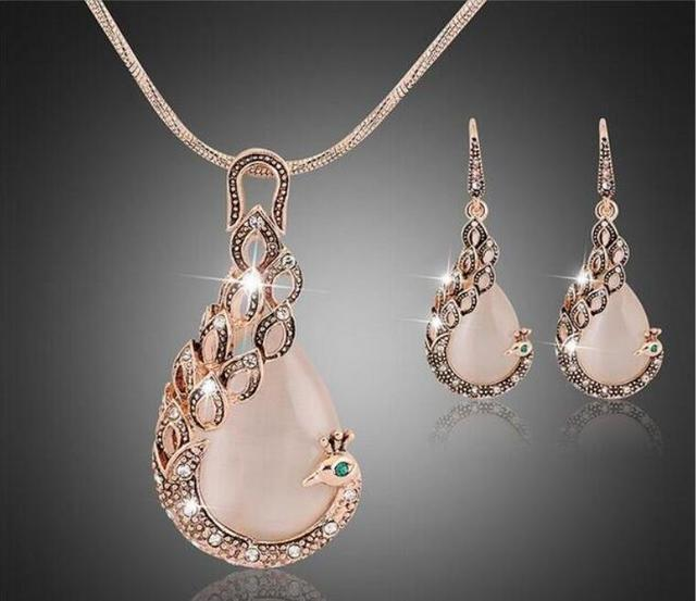 2016 New  Jewelry sets  Fashion KC rose Gold Filled opal Crystal Peacock Necklace Earring Wedding jewellery Set for women
