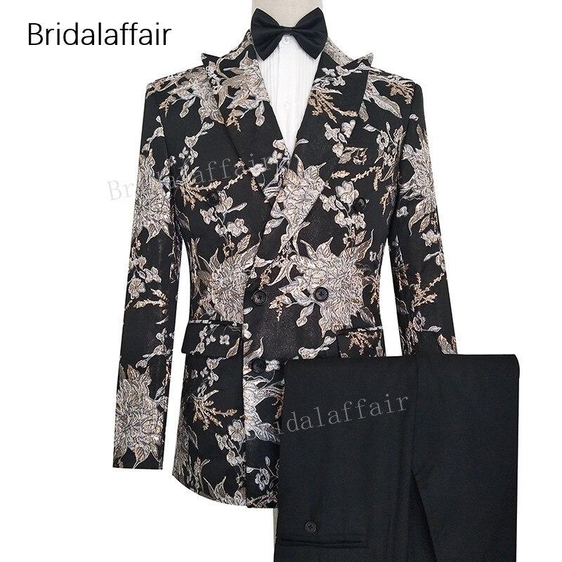 Gwenhwyfar مصممة صنع العريس البدلات الرسمية الأزياء المطبوعة سترة ملابس رجالي تلائم الرجل النحيف بدلة زفاف رجالي الدعاوى 2 قطعة سترة و السراويل السوداء-في بدلة من ملابس الرجال على  مجموعة 1