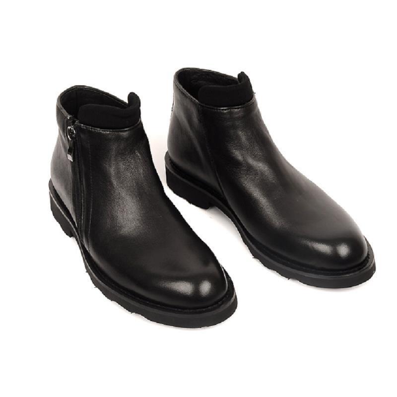 Salto Inverno Homens Couro Botas Para Ankle Sapatos O Boots Sexo Masculino Negócios De Pelúcia Confortáveis Preto Casuais Plana Northmarch Genuíno Homem A1x4nfn