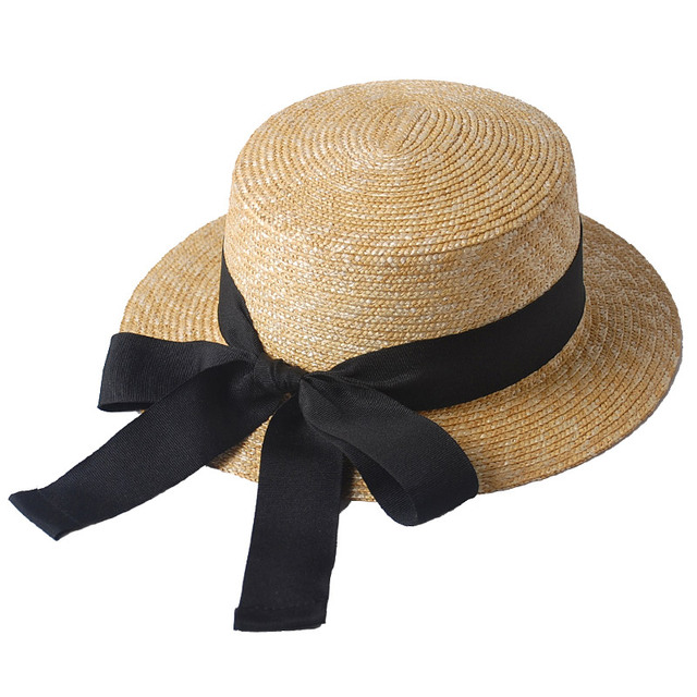 f59486953ee49 Female summer flat top short brim ribbon bow streamer straw hat Japan and  South Korea trend