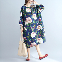 2017 Autumn Winter Women S Wear Simple Printed Dress Cotton Flax Long Loose Round Neckline Dress