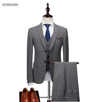 2019 New Arrival Style Men High-end Boutique Leisure Suits Business Casual Thousand bird Grid Three-piece Male Suit Coat M-3XL