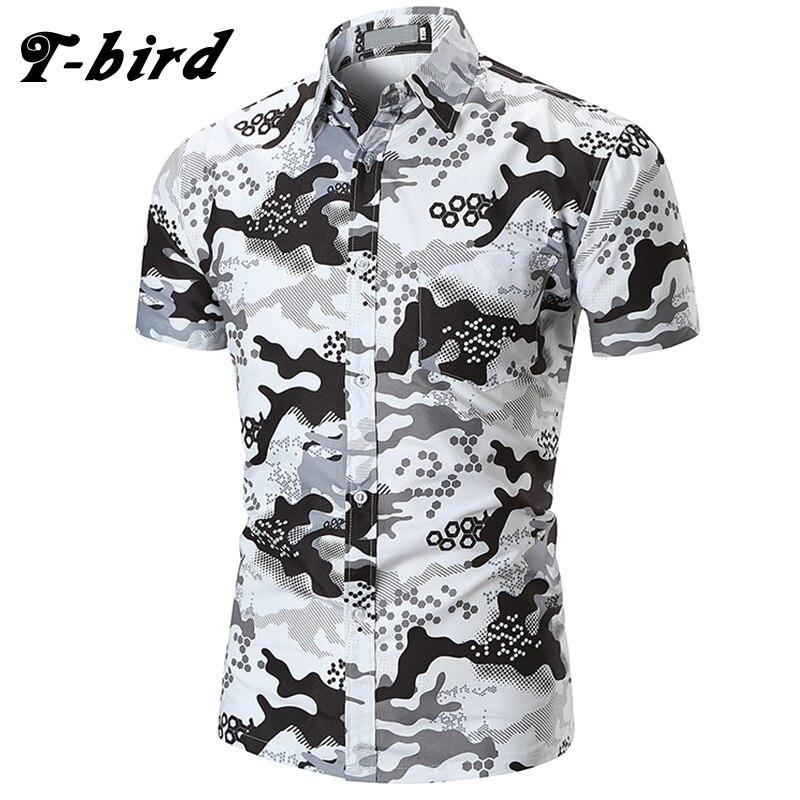 T-bird 2018 New Men Dress Shirts Short Sleeve Print Shirt Men'S Hawaii Casual Shirt Brands Summer Slim Tops Shirt European Size