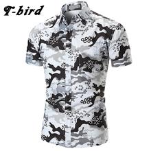 T bird 2018 New Men Dress Shirts Short Sleeve Print Shirt Men S Hawaii Casual Shirt