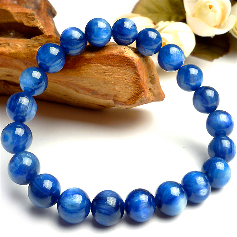 Fashion Blue Round Bead Bracelets For Women 9mm Genuine Kyanite Gems Natural Stone Crystal Stretch Charm Bracelet Femme 9mm genuine sugilite bracelets for female women natural stone round beads crystal jewelry bracelet