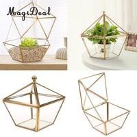 MagiDeal Geometric Terrarium Metal Faceted Succulent Plants Air Planter Anti Gold Indoor Planter Table Vase Wedding