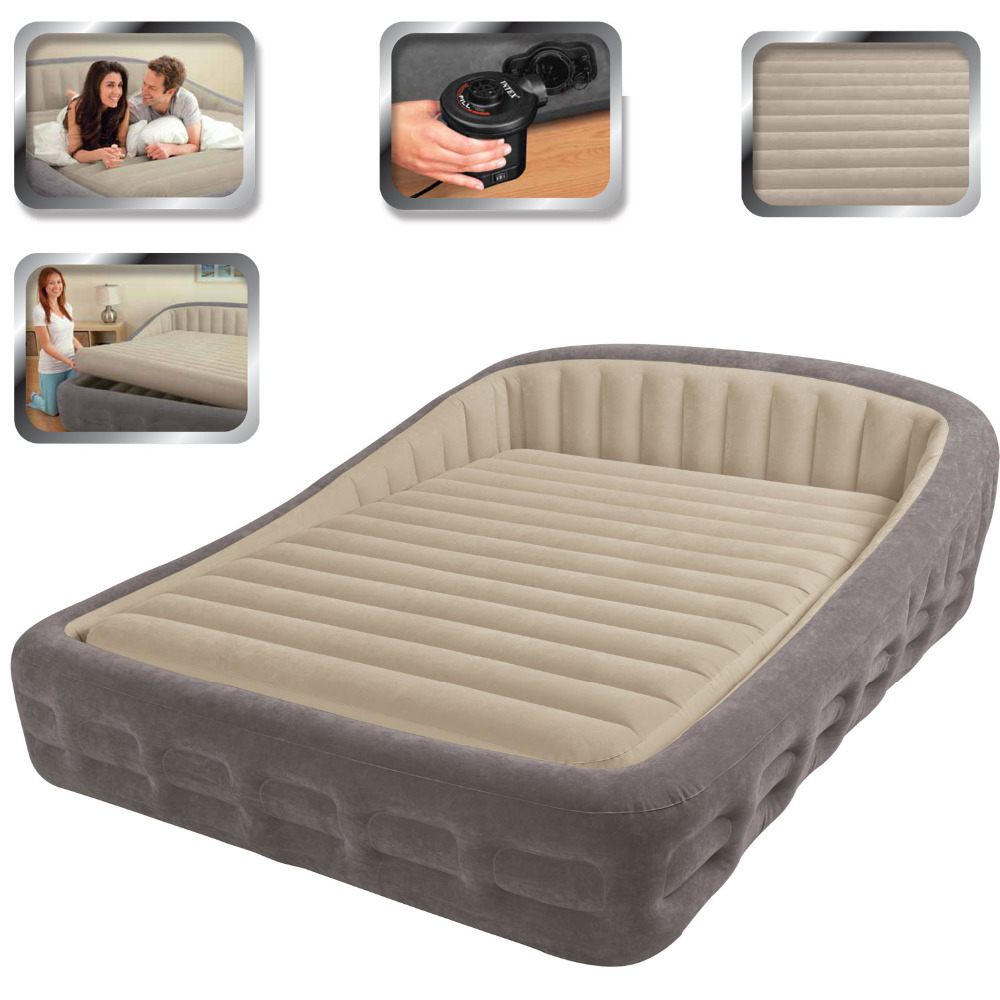 intex 67972 king size inflatable bed with electric air pump and 2 ...