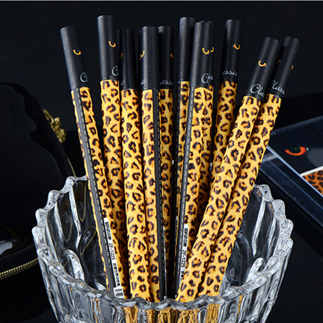 Creative Fashion Leopard Print Cover Gel Pen Diario Writing Accessories  Tool Roller Pen Lovely Fur Print
