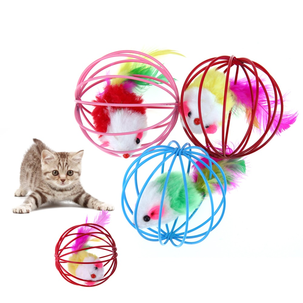 Cat Toys Lovely Ball Mouse Toys For Cats Feather Funny Playing Mice Mouse Toys Pet Animals Cute Plush Toy