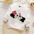 4 pcs Retail 2016 moda primavera crianças casuais roupas de bebê tees top meninas minnie rato dos desenhos animados de algodão macio t-shirt de manga comprida camisas