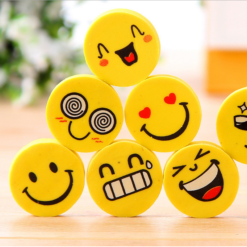 4 Pcs /bag Kawaii Smile Face Mini Rubber Eraser Creative Stationery School Supplies Papelaria Gift For Kids