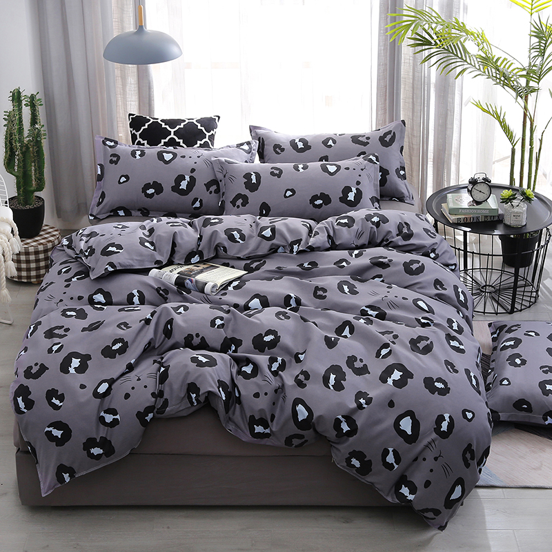 Grey Leopard Print Bedding Set Single Twin Double Bed Cover Sets