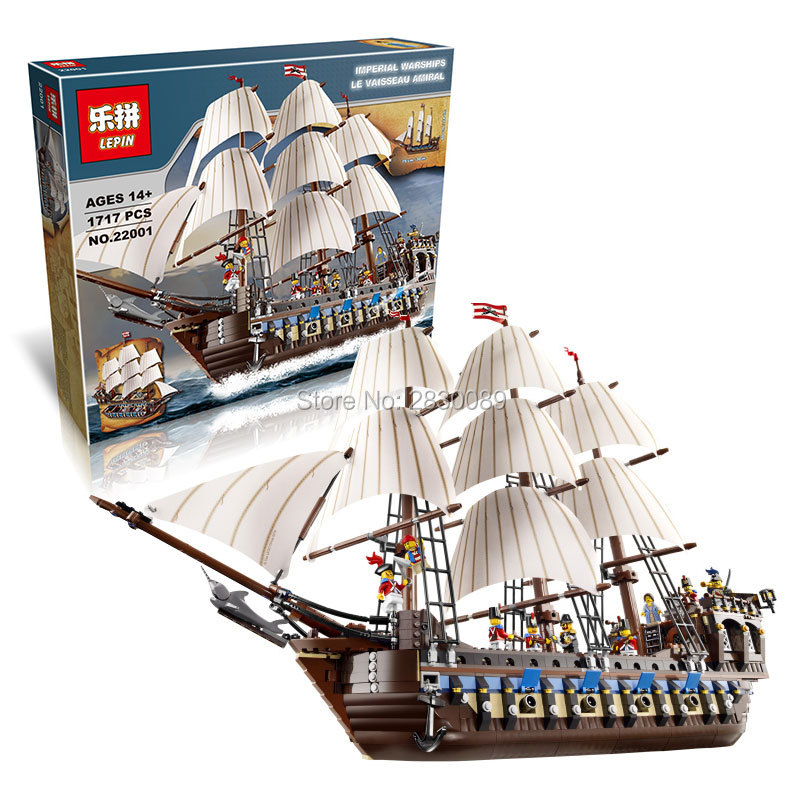 IN STOCK NEW LEPIN 22001 Pirate Ship Imperial warships Model Building Kits Block Briks Toys Gift 1717pcs Compatible10210