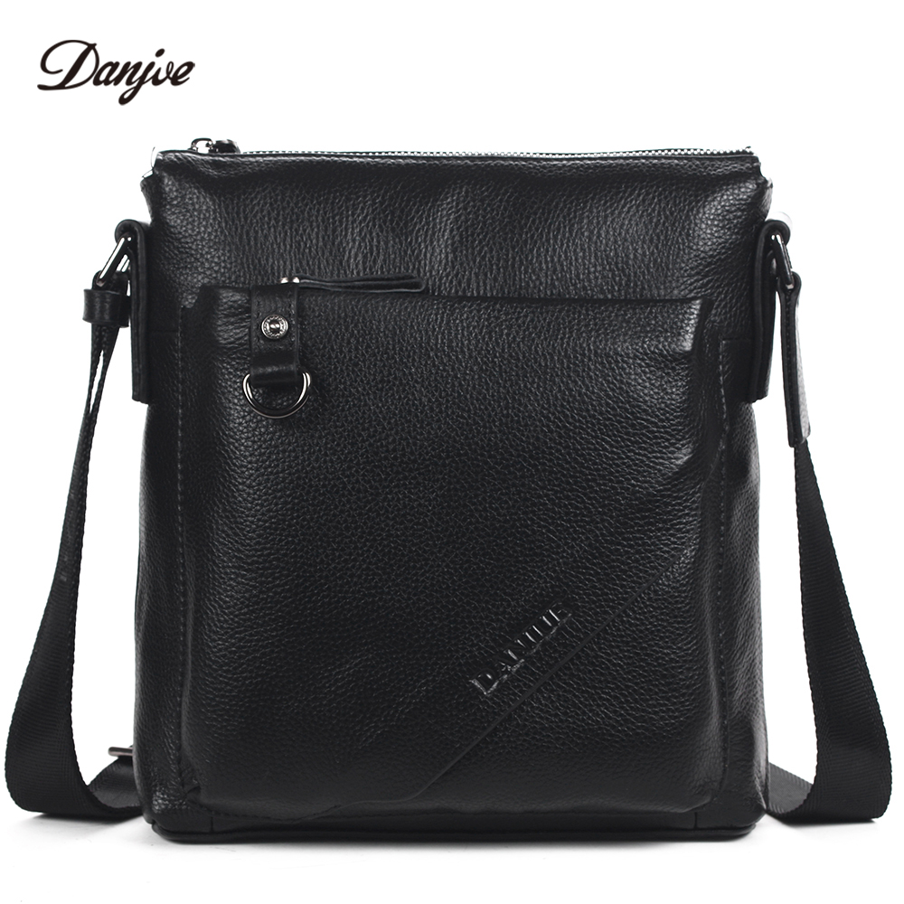 DANJUE Fashion Genuine Cow Leather Men Shoulder Bags Real Leather Business Crossbody Bag Solid Colors Mini Famous Brand Men Bag danjue genuine leather men travel shoulder bag double zipper designer crossbody bag business fashion real leather briefcase bag