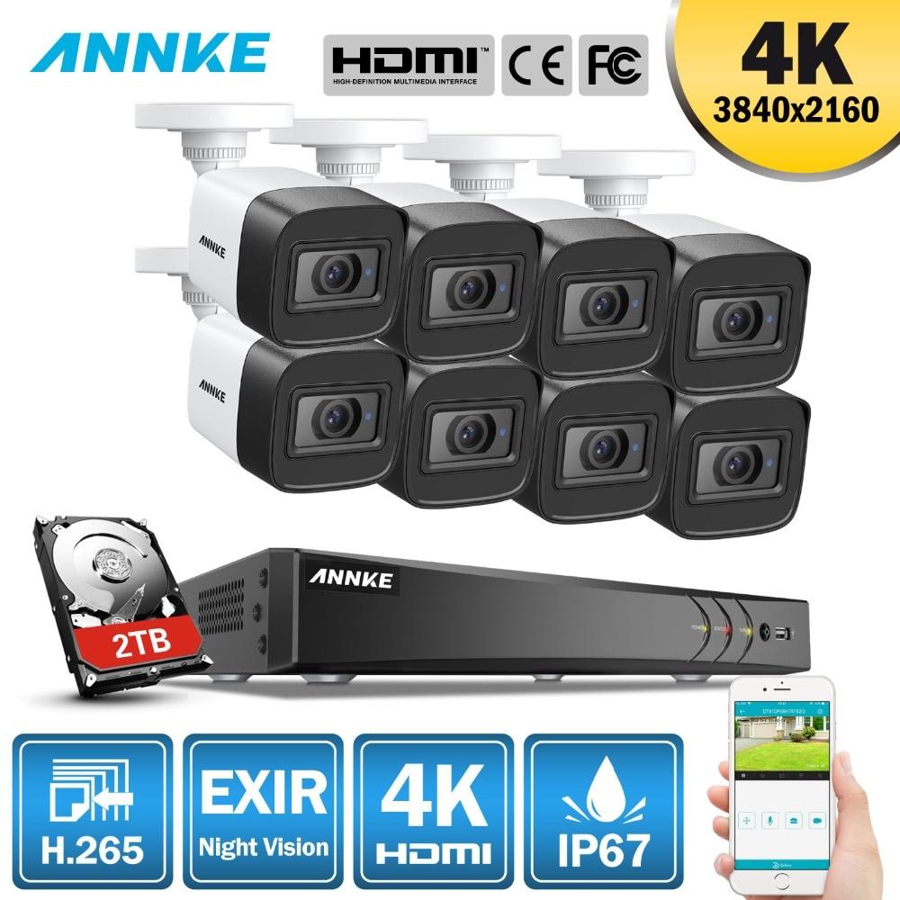 ANÃO 4 K Ultra HD 8CH 8 PCS 8MP H.265 + DVR CCTV Sistema de Câmera De Segurança Sistema de CCTV IR Ao Ar Livre kit de Vigilância de Vídeo de Visão noturna