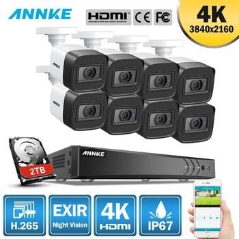 ANNKE 4 K Ultra HD 8CH système de sécurité de caméra de vidéosurveillance H.265 + DVR 8 pièces 8MP système de vidéosurveillance IR Kit de Surveillance vidéo de Vision nocturne extérieure