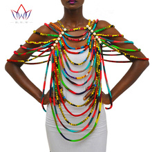 BRW African Ankara Necklaces Jewelry Conversion Piece Rope Necklace Shawl Tribal African Beads Handmade Jewelry Necklace WYX26