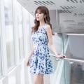 Blue dress Summer dress для женщин 2016 Шифон печати о-образным вырезом dress симпатичные тонкий танк рукавов выше колена корейский одежда F6632