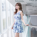 Vestido azul vestido de Verão para as mulheres 2016 Chiffon de impressão o pescoço vestido bonito tanque fino sem mangas acima do joelho coreano roupas F6632