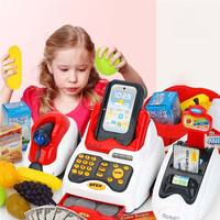 24PCS Supermarket Cashier Toy Miniature Food Prop Money Toys Simulated POSS Machine Play Money Fake Food Girls Toys For Children