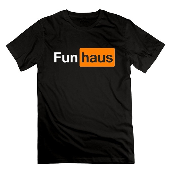 Funny Cotton T Shirt Printing O-Neck Short-Sleeve Happwan Mens Fun Haus T-Shirt Shirt For Men