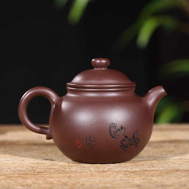 Yixing Paarse Klei Pot Theewaar Ijzermijn Oude Paarse Klei Ring Knop Pot handgemaakte Theepot Gift Aangepaste Een substituut - 2