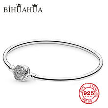 New 2009 1:1 Original Engraved Sterling Silver, High Quality Female Basic Bracelet Luxury Suitable For Jewelry Gift(China)