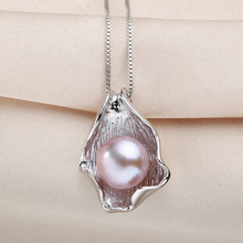 Big 10-11mm White Natural Freshwater Pearl Pendant Necklace Women Fashion 925 Sterling Silver Jewelry High Quality Shell Pendant