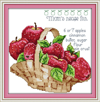 Joy Sunday Apple Basket Stamped Counted Cross Stitch 11CT 14CT Cross Stitch Kits For Embroidery Crafts
