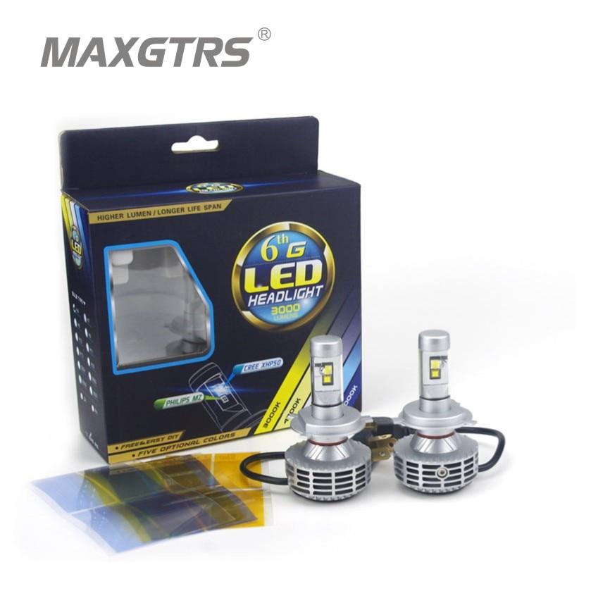 ФОТО 2x Plug&Play H4 6000Lm CREE Chip XHP50 Led Hi/Lo Beam 60W All In One No Ballast Car DRL Fog Headlight Bulb Kit 4300K/6000K