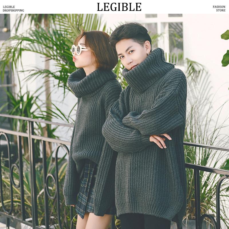 LEGIBLE Winter Man/Women Turtleneck Sweaters Baggy Warm Pullover Sweaters Male Thicken Coarse Wool Korean Sweaters 2018