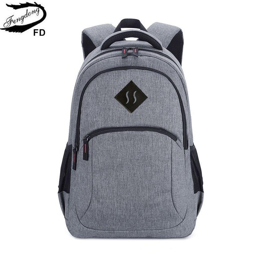 FengDong grey high school backpack for boy schoolbag men school bag college bags male tr ...
