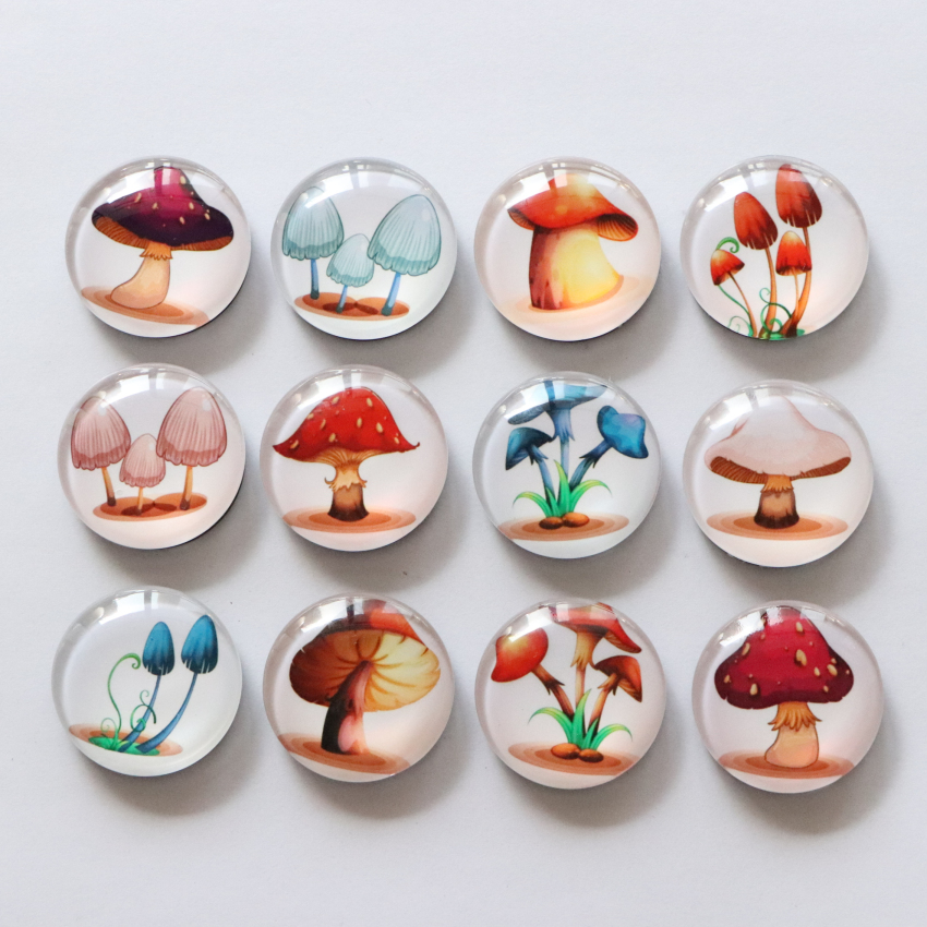 5Pieces Wood Mushroom Fridge Magnets Perfect Gifts for Home Decor