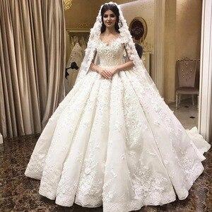 Image 1 - אימפריה מתוקה פלאפי תחרת אפליקציות ואגלי קריסטל יוקרה חתונה מוסלמית שמלות שמלת תפור לפי מידה 2020 חדש SA15