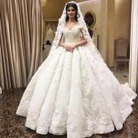 Reich Schatz Fluffy Spitze Appliques Perlen Kristall Luxus Brautkleider Muslim Brautkleid Nach Maß 2019 Neue SA15