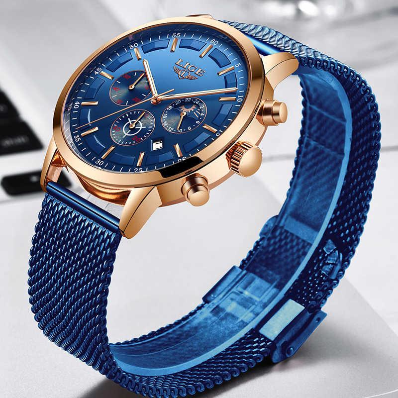 ליגע חדש Mens שעונים זכר אופנה למעלה מותג יוקרה נירוסטה כחול קוורץ שעון גברים מזדמן ספורט עמיד למים שעון Relojes