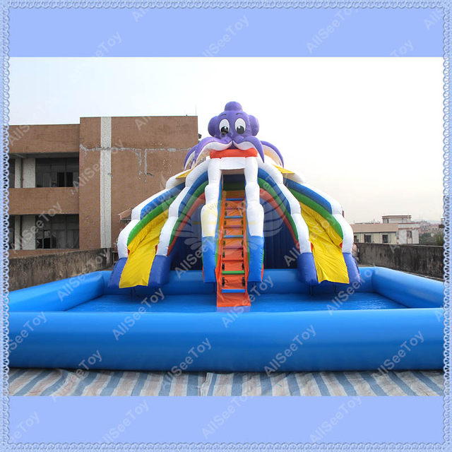 Commercial Inflatable Slide With Big Pool, Giant Inflatable Water Slide, Inflatable  Pool Slide