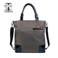 TOBYS Business Men S Crossbody Bags Single Shoulder Strap Bag Canvas Zipper Leather Messenger Bags High