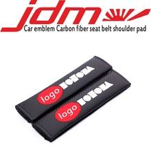 Embroidery Car emblem Carbon fiber seat belt cover shoulder pad for toyota honda nissan mazda mitsubishi suzuki accessories цена и фото