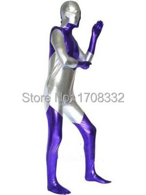 Ultraman costume Shiny Metallic Violet  full body Zentai Suit Ultraman superhero costume halloween costume