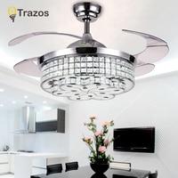 LED Crystal Chandelier Fan Light Living Room Bedroom Retractable Folding Fan With Remote Control 220 V Fan Lamp ventilador de te