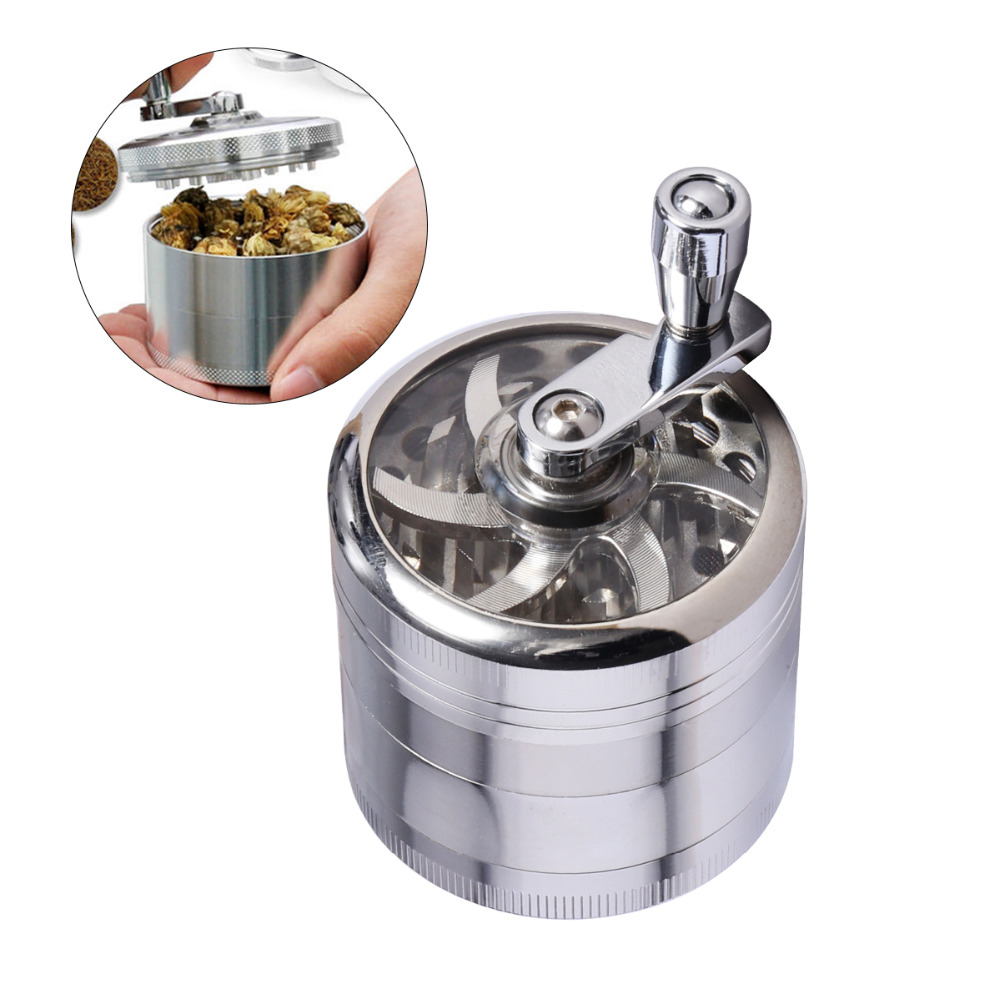 Hot Sale 4 Layers Tobacco Spice Grinder Herb Weed Grinder with Mill Handle Metal Herb Grinder Free Shipping Мельница
