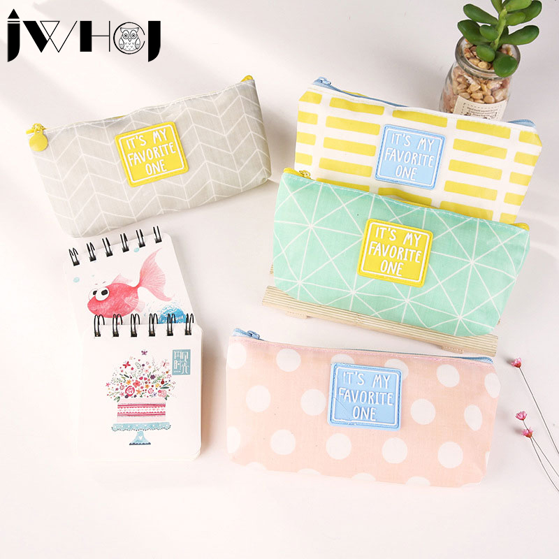 1 pcs Small fresh Simple living dot grid zip Pencil Bag kids Pencil Case School Supplies Cosmetic Bag children gift stationery