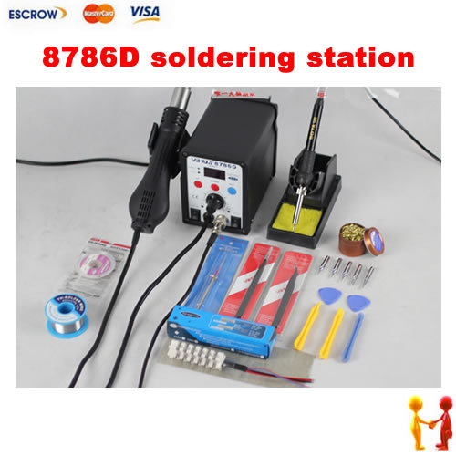 YIHUA 8786D ESD BGA Rework Machine, Digital Hot Air Temperature Control Cell Phone Soldering Station with welding accessories