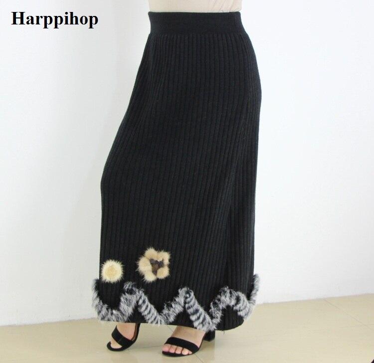 2018 automne et d'hiver de fourrure de lapin tricoté Épais Longue Jupe Femmes bureau Paquet Hanche Maxi Jupe Lady fleur de fourrure de vison jupes