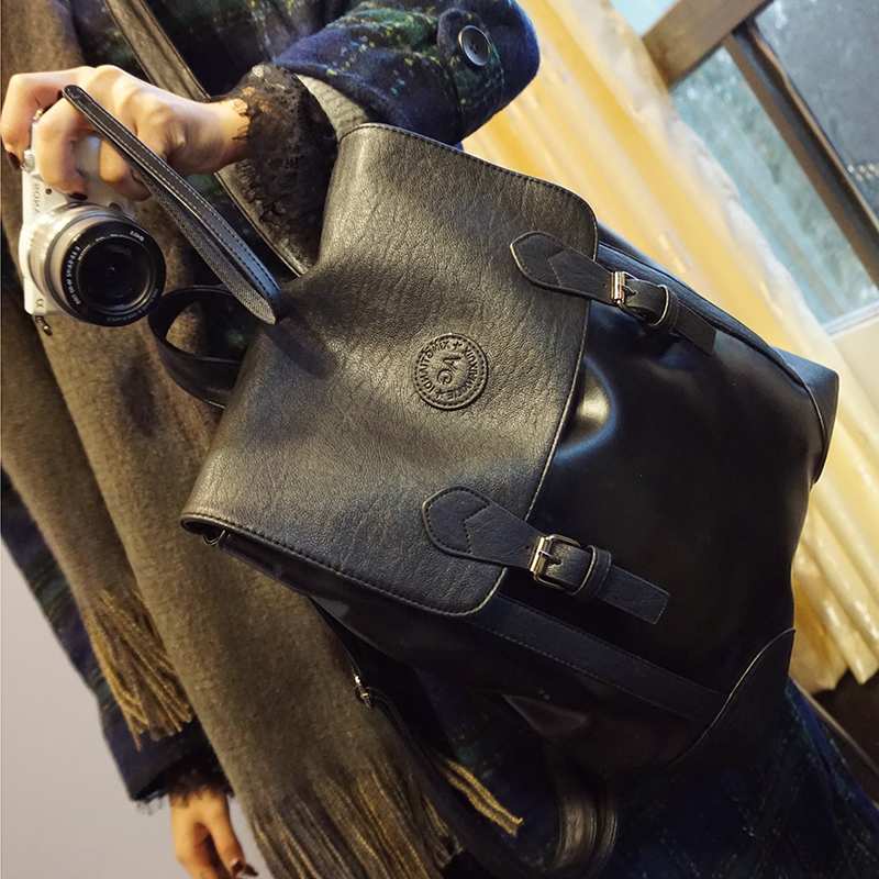 Buy korean style unisex backpack pu leather fashion school bag student preppy style book bag laptop bag hot selling